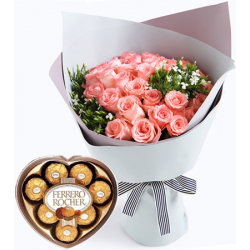 24 pink rose bouquet with ferrero heart shaped box to manila