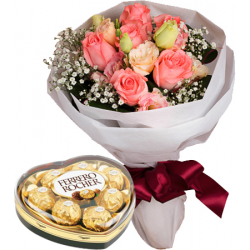 rose bouquet with ferrero chocolate