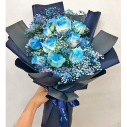 send 12pcs. blue roses in hand bouquet to philippines