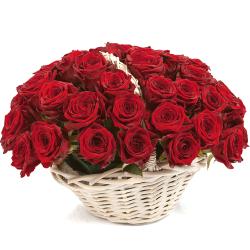 send 36 red roses in basket