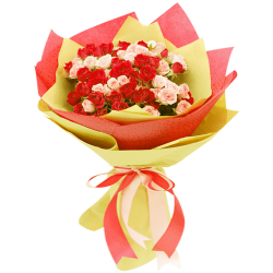 send 36 red and peach roses in bouquet to philippines