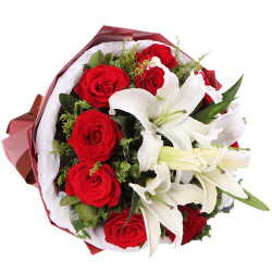 send dozen of roses and 3 stems lilies bouquet to philippines
