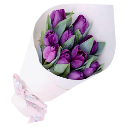10 purple tulip in bouquet to philippines
