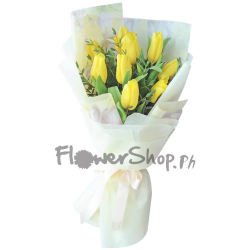 send 9 stems yellow tulip in bouquet to philippine