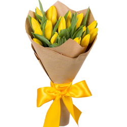 buy 15 yellow tulip in bouquet to philippines