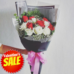 send 12 pcs. red and white roses bouquet to philippines