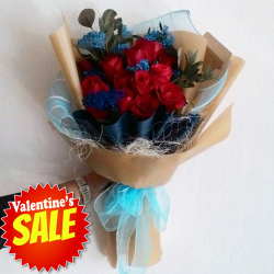 send 12 fresh red color roses in bouquet to philippines