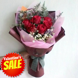 send half dozen red color roses in bouquet to philippines