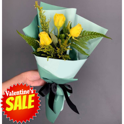 delivery 3 stems yellow  roses bouquet to philippines
