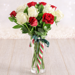 send xmas 12 red and white roses in glass vase to philippines