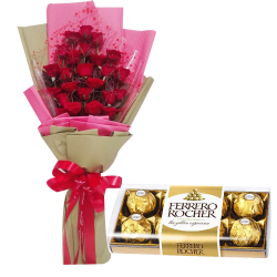 24 Red Roses with Ferrero Chocolate Box