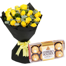 24 Yellow Roses with Chocolate Box