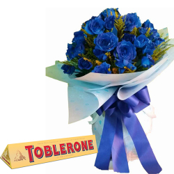 24 Pcs. Blue Roses with Chocolate Bar