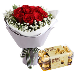 A Dozen of Red Roses with Ferrero Box