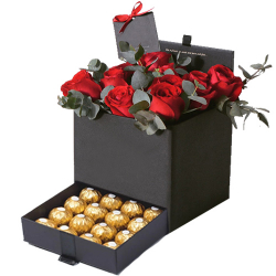 12 Red Roses with 12 Ferrero Chocolate in a Box