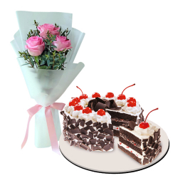 Roses with Black Forest Cake by Red Ribbon