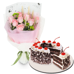 12 Roses w/ Black Forest Cake by Red Ribbon