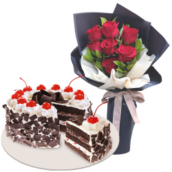 7 Pcs. Red Color Roses with Black Forest Cake