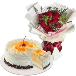 10 Red Roses with Mango Cake by Red Ribbon