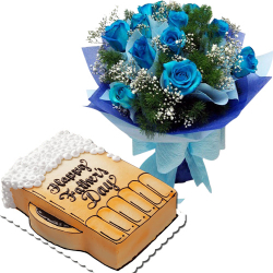 Father's Day Dozen Of Blue Roses with Dedication Cake