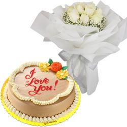9 White Roses with Classic Mocha Chiffon Cake