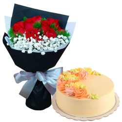 9 Red Roses with Vanilla Message Cake By Max's