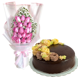 20 Pcs. Pink Roses with Chocolate Message Cake By Max's