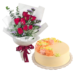 8 Pcs. Red Roses with Vanilla Message Cake By Max's