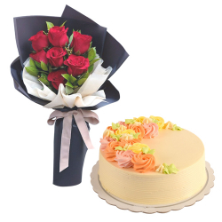 7 Pcs. Red Roses with Vanilla Cake By Max's