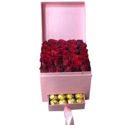 24 Roses with 8 Pcs. Ferrero Chocolate