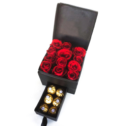 12 Red Roses with 6 Pcs. Ferrero in Box