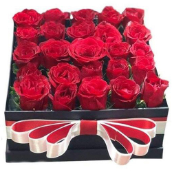 24 Red Color Roses in a Box