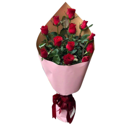 12 Pcs. Red Color Roses in a Bouquet