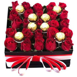 24 Roses with 8 Pcs. Ferrero Chocolate in Box