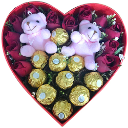 12 Roses with Mini Teddy and Chocolate in Box