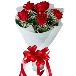 6 Stems Red Color Roses in Bouquet
