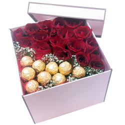 18 Red Roses with 9 Pcs. Ferrero in a Box