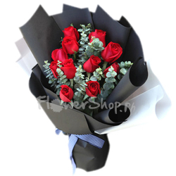 A Dozen of Red Roses in Bouquet