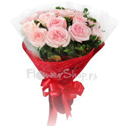 12 Stems Pink Roses in Bouquet