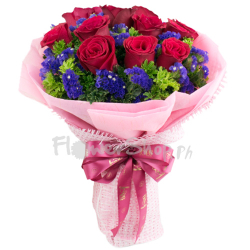12 Red Roses in Blue Bouquet