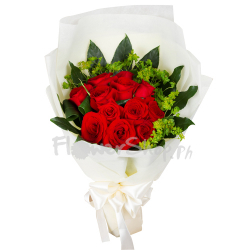 A Dozen Of Romantic Red Roses