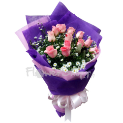 send 12 pcs. pink rose in bouquet to manila