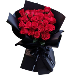 24 Red Roses with Greenery Bouquet