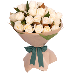 24 Pcs. White Roses in Bouquet