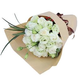 2 Dozen White Roses in Bouquet