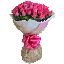 24 Pcs. Pink Roses in Bouquet