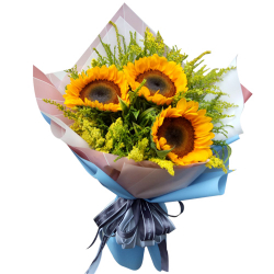 3 pcs Sunflower in Beautiful Bouquet