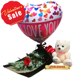Rose with Small Bear, Chocolate & Balloon