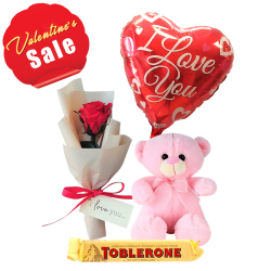 Rose Bouquet with Bear, Chocolate with Balloon