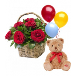 send 12 red roses basket with teddy bear and balloon